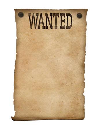 papel quemado: Se busca cartel aislado salvaje oeste Foto de archivo
