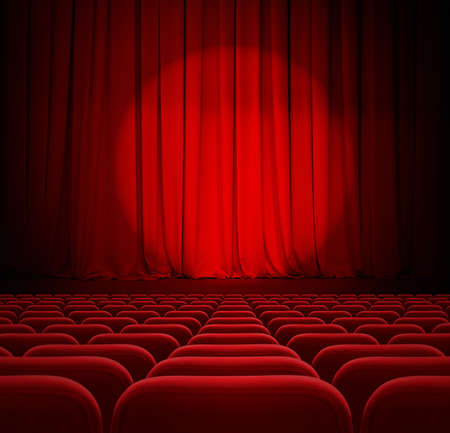 cinema red curtains with spotlight and seats photo