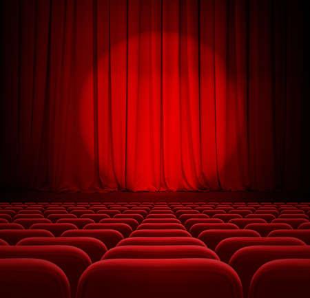 sipario chiuso: cinema tende rosse, con riflettori e posti a sedere