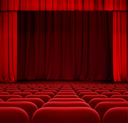 theater audience: theater or cinema curtain or drapes with red seats Stock Photo