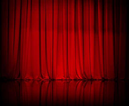 カーテンやカーテン赤 写真素材