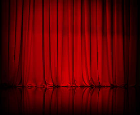 curtain or drapes red  Stock Photo