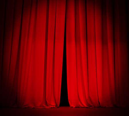 스포트 라이트와 연극 무대 빨간 커튼 스톡 콘텐츠