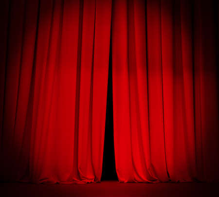 stage curtain: theater stage red curtain with spotlight