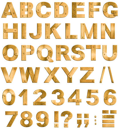Golden or brass metal alphabet letters, digits and punctuation marks  Font isolated on white  photo