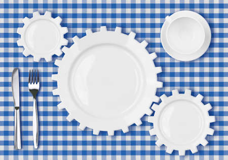 plates gears work concept  Dinner dishes over blue tablecloth  photo