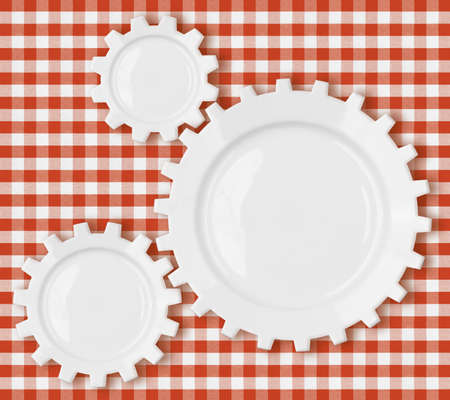 checker plate: red checkered fabric tablecloth Stock Photo