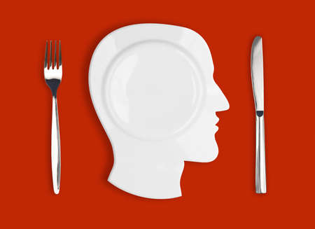 Knife, head plate and fork on red background photo