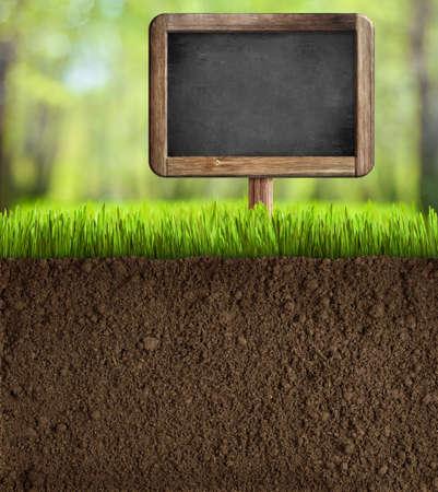 seeding: soil in garden with blackboard sign