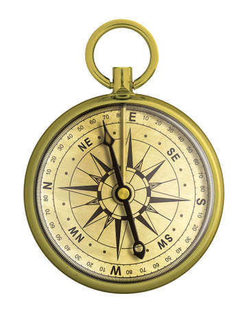 old gold compass nautical isolated Stock Photo - 24040482