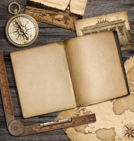 copybook: adventure nautical background with vintage map, copybook and compass