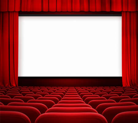 funny movies: cinema screen with open curtain and red seats Stock Photo