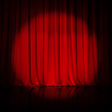 curtain: curtain or drapes red background Stock Photo