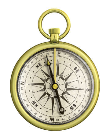 old gold nautical compass isolated photo