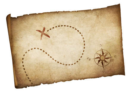 Pirates old treasure map isolated