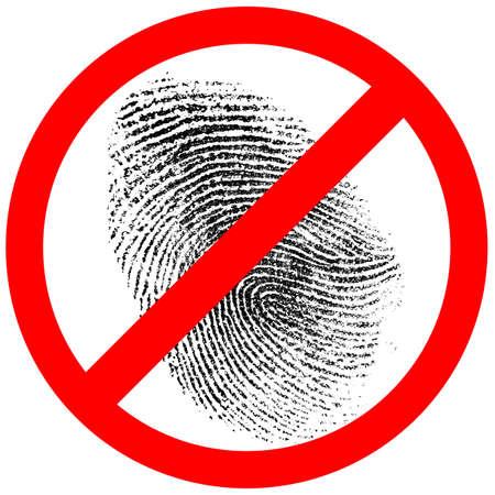 deductive: no fingerprint or finger print forbidden sign
