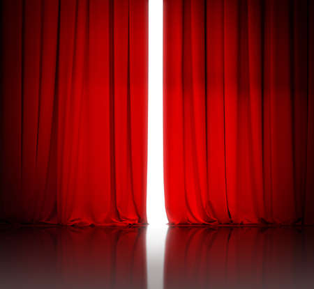 red theater or cinema curtain slightly open and white light behind it