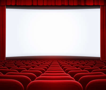 cinema big screen with red curtain frame and seats photo