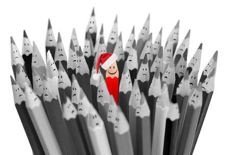 ordinary: pencil with smile in Santas Christmas hat among sad gray pencils Stock Photo