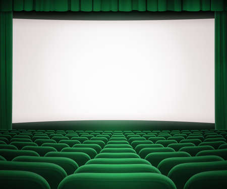 awards ceremony: cinema screen with open green curtain and seats