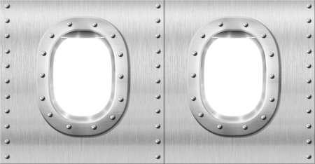 two metal portholes or windows photo