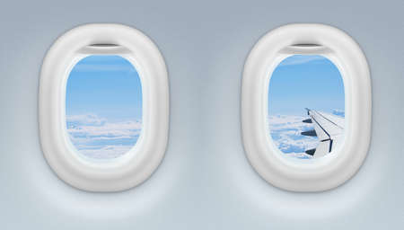look through window: two airplane or jet windows