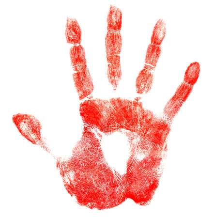 fingerprint: Bloody red hand print isolated on white