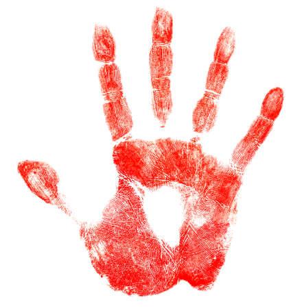 Sanglante impression de main rouge isolé sur blanc Banque d'images - 24732189