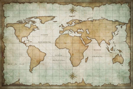 vintage world map: aged treasure map with compass