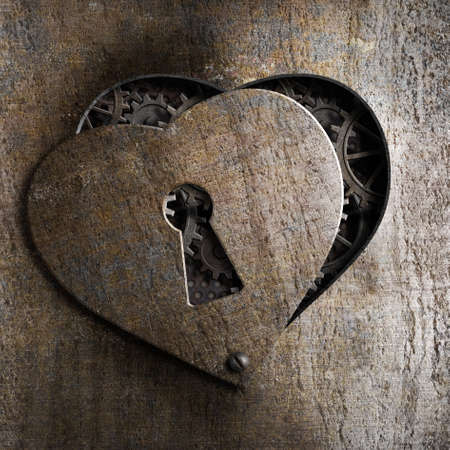 metal heart with keyhole photo