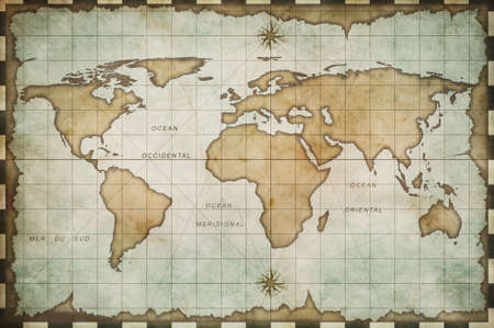 geography: aged old world map