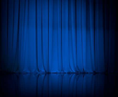curtain theater: cortina o cortinas fondo azul Foto de archivo