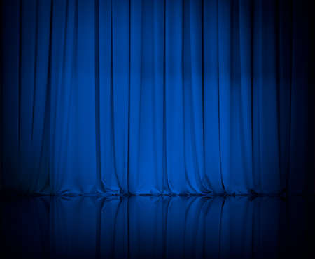 stage background: curtain or drapes blue background