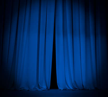 comedy show: theater stage blue curtain with spotlight background