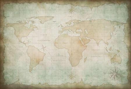 Vecchia mappa del mondo di fondo Archivio Fotografico - 24963105