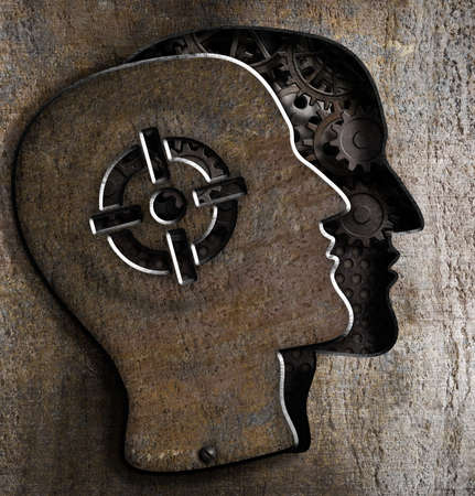 Human head with target mark on metal plate Stock Photo - 24963111