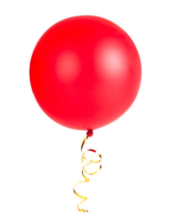 lacet: red ribbon balloon with gold string isolated on white