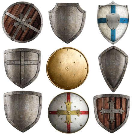 cavaliere medievale: collezione scudi isolato su bianco