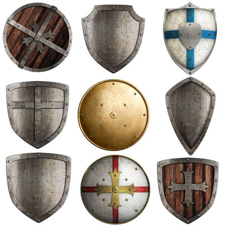 armour: shields collection isolated on white Stock Photo