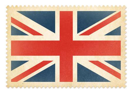 britain flag: Sello de correos con Brittish La bandera de Gran Breta�a aislada.