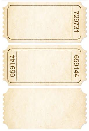 티켓을 설정합니다. 흰색에 고립 된 종이 티켓 스텁