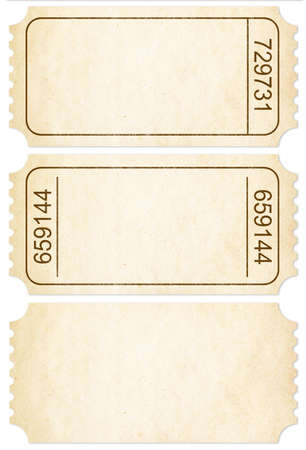 old movies: Ticket set. Paper ticket stubs isolated on white  Stock Photo