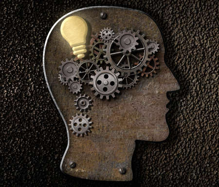 Brain mechanism made from metal cogs and gear with idea bulb lamp photo