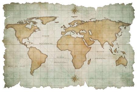 aged world map isolated on white