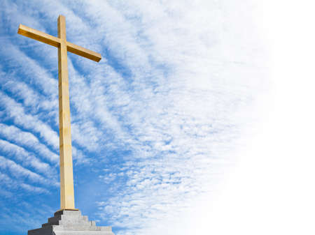 belive: Christian cross with sky background. Religion template. Stock Photo