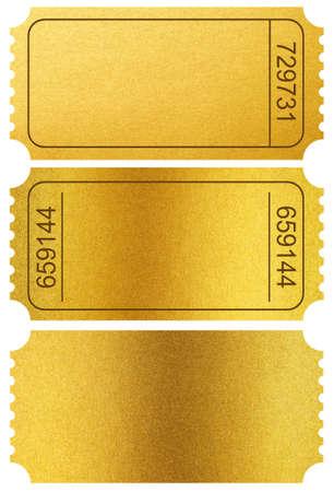 ゴールド チケット スタブ上分離白 写真素材