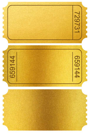 Gold tickets stubs isolated on white  photo