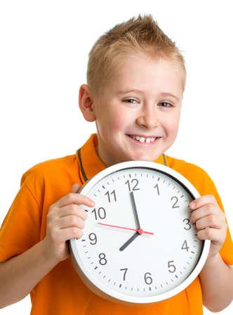 oclock: boy displaying eight oclock time in studio isolated
