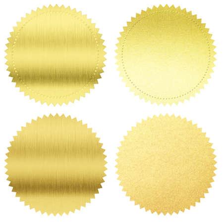 Gold Dichtungen oder Medaillen Set isoliert auf weiß
