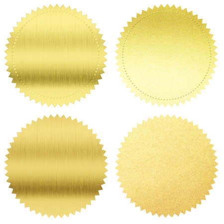 certificate seal: gold seals or medals set isolated on white